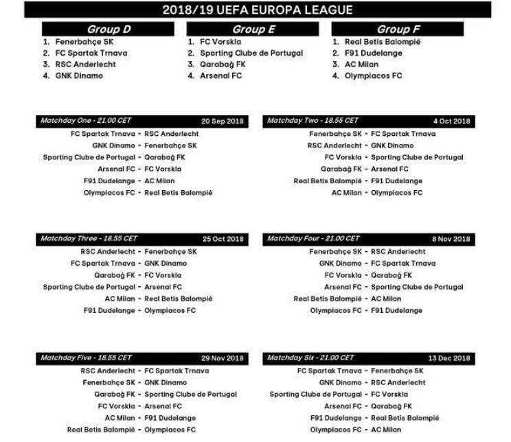 Calendario Flylady.Milan Europa League Calendario