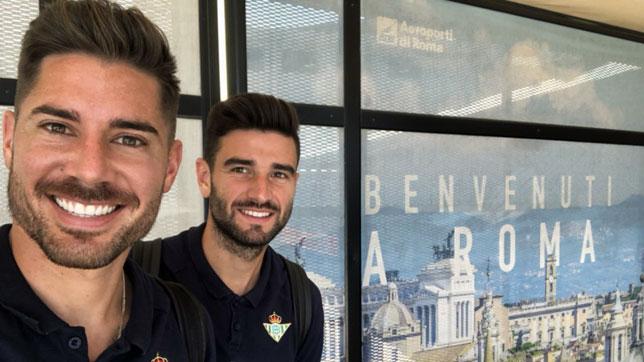 Javi García y Barragán, en el aeropuerto de Roma (foto: RBB)