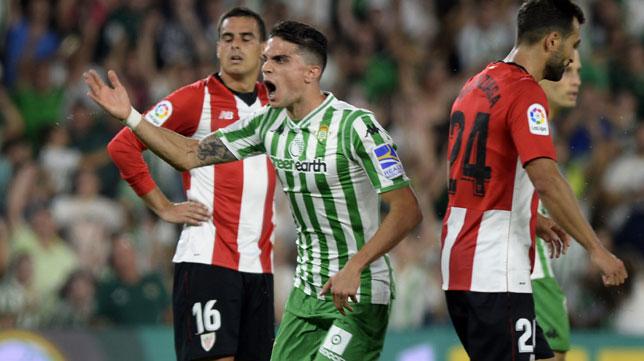 Bartra celebra el 1-2 entre Dani García y Balenziaga (Foto: AFP).