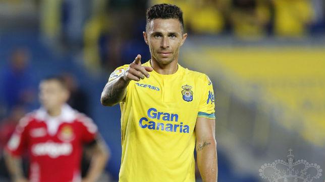 Rubés Castro, durante la celebración de uno de sus goles ante el Nàstic (UDLP)