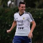 Lo Celso, durante un entrenamiento con Argentina