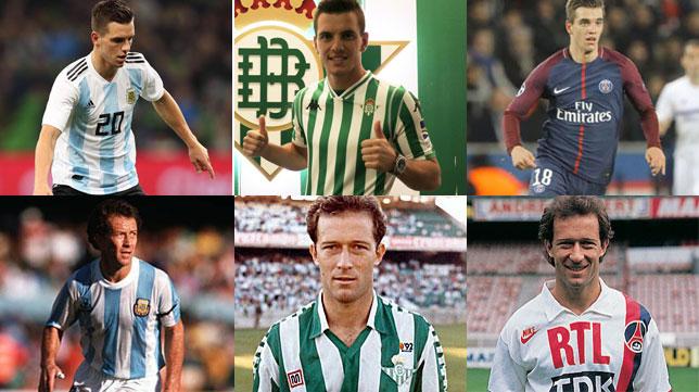 Lo Celso y Calderón, con la selección argentina, el Betis y el PSG