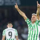 Joaquín celebra su gol en el derbi