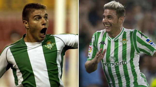 A la izquierda, Joaquín celebra el gol logrado en el derbi liguero de la 02-03 en Nervión. A la derecha, tras el tanto del triunfo en el Betis-Sevilla de la 18-19 (Foto: Nieves Sanz / J. J. Úbeda)