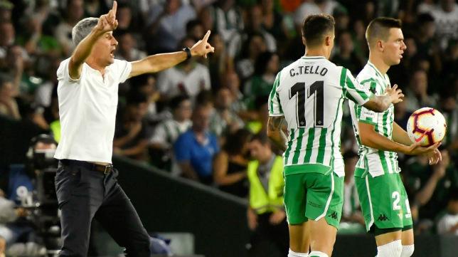 Setién da instrucciones durante el Betis-Leganés