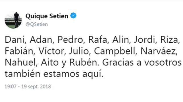 El tweet de Quique Setién