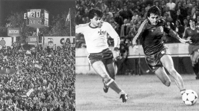 La imagen del marcador del Villamarín con el 12- ante Malta; a la derecha, Gordillo supera a un defensor maltés