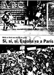 La portada de ABC de Sevilla con el España, 12-Malta, 1 en diciembre de 1983 jugado en el Benito Villamarín