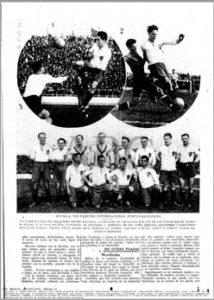 Página gráfica de ABC sobre el España-Portugal de 1929 en Heliópolis
