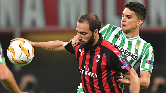 Higuaín y Bartra, en el Milan-Betis (EFE)
