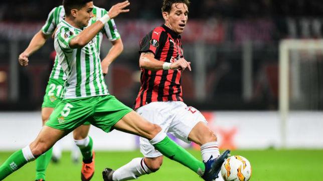 Lucas Biglia y Bartra durante el Milan-Betis (AFP)