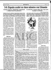 La crónica de la goleada de España ante Lituania (5-0) en ABC de Sevilla en 1993