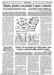 La crónica de ABC de Sevilla sobre el España-Armenia (1-0) de junio de 1995 en el Benito Villamarín