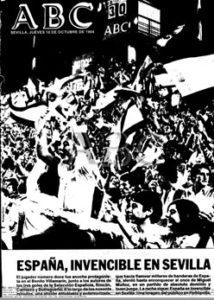 Portada de ABC de Sevilla con el 3-0 de España a Gales en 1984