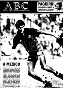 Portada de ABC de Sevilla con el triunfo de España ante Islandia (2-1) en 1985