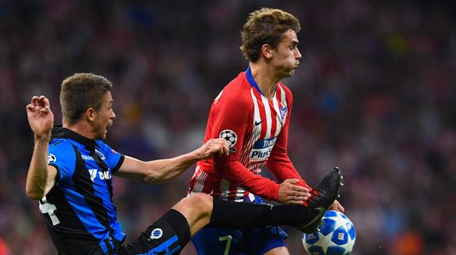 Griezmann, en el partido contra el Brujas (Foto: AFP).