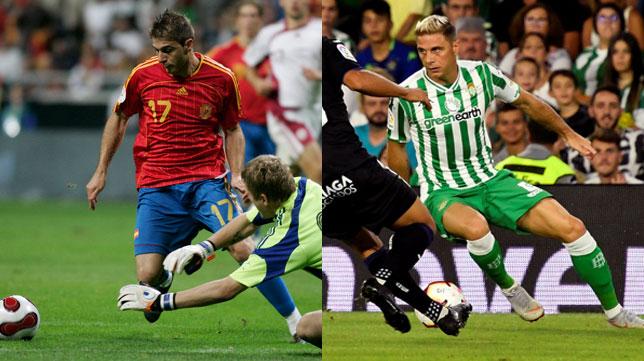 A la izquierda, Joaquín en uno de sus últimos partidos con la selección; a la derecha, Joaquín en el Betis-Leganés