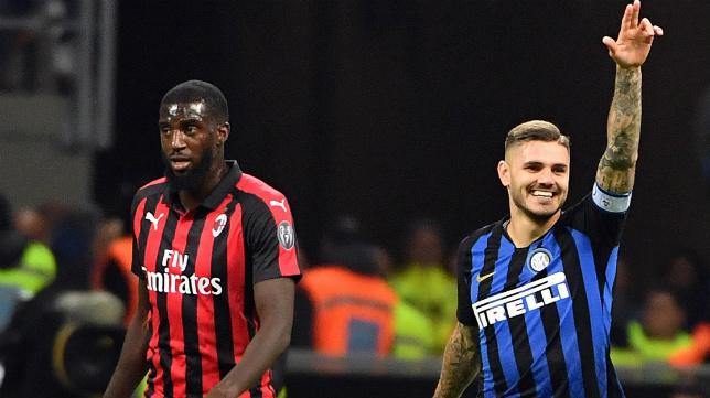 Icardi celebra su gol ante el milanista Bakayoko (EFE)