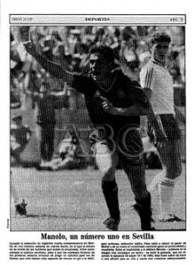 Portadilla de la sección de Deportes de ABC de Sevilla con el 4-0 de España ante Malta en 1989