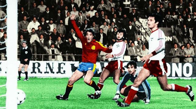 Poli Rincón celebra uno de sus tantos en el España-Malta disputado en el Benito Villamarín