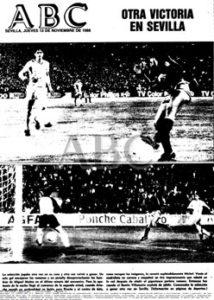Portada de ABC de Sevilla de noviembre de 1986 con el resultado de España, 1-Rumanía, 0 jugado en el Benito Villamarín