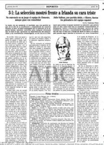 La crónica de ABC de Sevilla del España-Irlanda del Norte (3-1) de 1993 en el Villamarín
