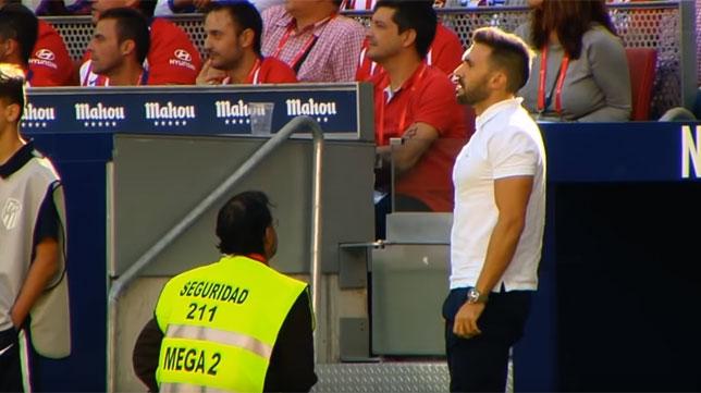 Eder Sarabia, en la banda del Wanda Metropolitano