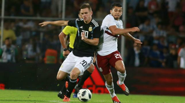 Giovani Lo Celso, en un lance del Argentina-México disputado en Mendoza
