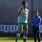 Roberto Abreu celebra un gol con la camiseta del Betis Deportivo esta temporada