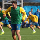 Borja Iglesias, en un entrenamiento con el Espanyol (Foto: RCDE)