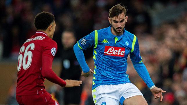 Fabián, durante el Liverpool-Nápoles (Foto: EFE)