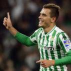 Lo Celso celebra su gol al Racing de Santander en la Copa del Rey