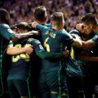 Los jugadores verdiblancos celebran un gol en el Valladolid-Betis (EFE)