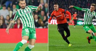 A la izquierda, Jesé en el Betis-Leganés. A la derecha, Ben Arfa y Lo Celso disputan un balón en el Stade Rennais-Betis (Fotos: EP /AFP)