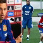 A la izquierda, Canales ofrece una rueda de prensa con la selección española. A la derecha, Lo Celso, durante un entrenamiento con Argentina en Madrid (Fotos: Fernando Alvarado / AFP)