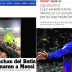Informaciones de los diarios Olé y Clarín sobre la ovación de la afición del Betis a Messi
