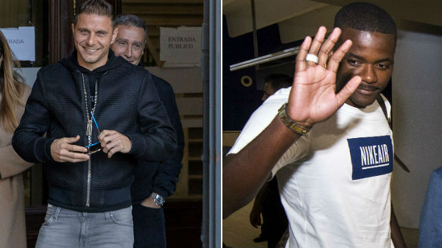 A la izquierda, Joaquín sale del juzgado. A la derecha, William, a su llegada al aeropuerto de Sevilla (Fotos: EFE / J. J. Úbeda)