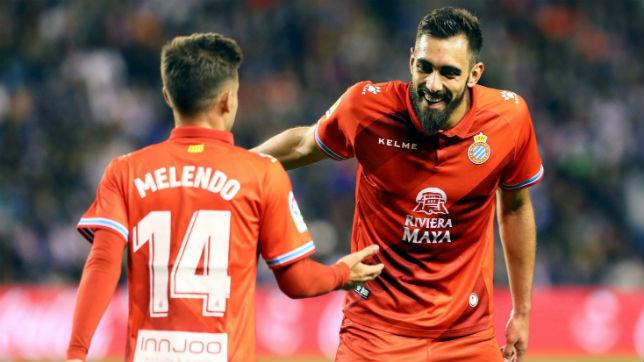 Borja Iglesias con Óscar Melendo en el Espanyol