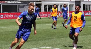 Loren y Kaptoum, en un entrenamiento en Estados Unidos (Foto: Real Betis)