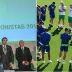 A la izquierda, Ángel Haro, José Miguel López Catalán y Lorenzo Serra Ferrer, en la junta general de accionistas. A la derecha, Setién charla con sus futbolistas (Fotos: Raúl Doblado y Manuel Gómez)
