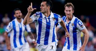 Juanmi celebra un gol con la Real Sociedad esta temporada (Foto: Alterphotos).