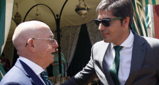 Lorenzo Serra Ferrer y Ángel Haro, en el almuerzo celebrado en la Feria (Foto: Manuel Gómez)