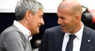 Setién saluda a Zidane antes del Real Madrid-Betis (Foto: AFP)