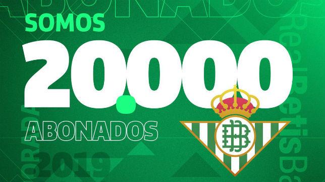 El real Betis ha anunciado que ha alcanzado los 20.000 abonados