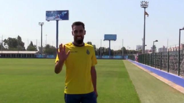Borja Iglesias, entrenando hoy con el Espanyol