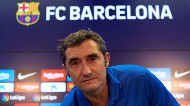 Ernesto Valverde, en la rueda de prensa previa al Barcelona-Betis (foto: EFE/Alejandro Valverde)