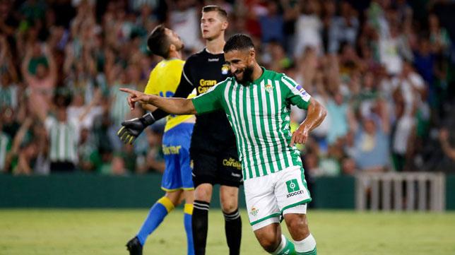 Fekir celebra su gol a Las Palmas, el primero con el Betis (Foto: Real Betis)