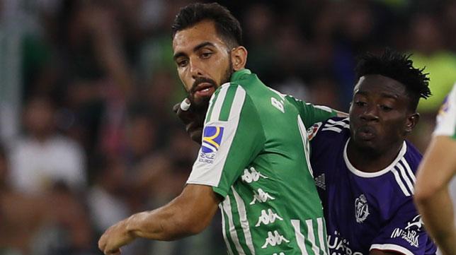 Borja Iglesias, en el partido contra el Valladolid