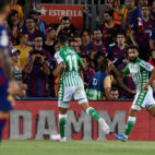 Fekir (posible titular en el Betis - Leganés) celebra el 0-1 en el Barça-Betis (AFP)
