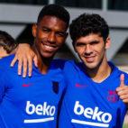 Junior y Aleñá, en un entrenamiento del Barcelona (Foto: FCB).